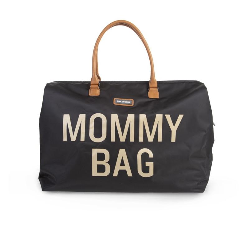 Torba podróżna Mommy Bag - czarna - złoty napis - Childhome
