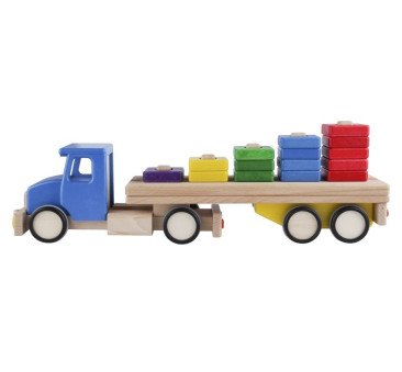 Duża drewniana ciężarówka z klockami do układania - sorter - niebieska Lupo Montessori