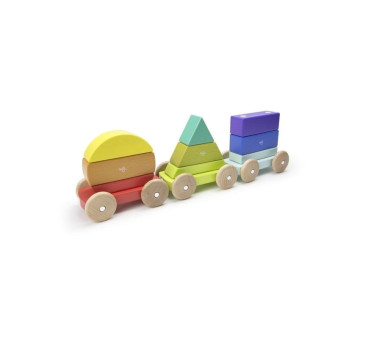 Drewniane klocki magnetyczne - Baby and Toddler - Magnetyczny Pociąg - Rainbow - Tegu