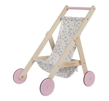 Wózek drewniany dla lalek - Spring flowers - Little Dutch