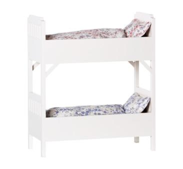 Białe Drewniane Łóżko Piętrowe Dla Maskotek - Bunk Bed White - Akcesoria dla Lalek - Maileg