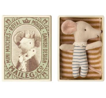 Myszka Dzidziuś Chłopiec - Sleepy Wakey In Box - Baby Mouse - Maileg