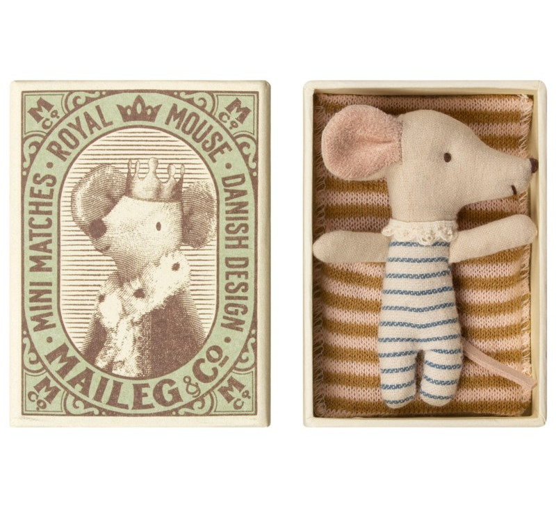 Myszka W Pudełeczku Chłopiec - Baby Mouse Sleepy Wakey In Box - Boy - Maileg