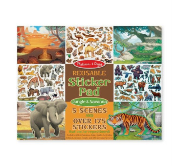 Safari- Wyklejanki wielokrotnego użytku - Naklejki - Melissa & Doug