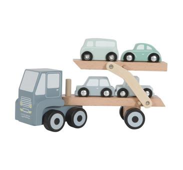 Laweta Z Podnośnikiem i 4 autkami - Little Dutch - Drewniana Montessori