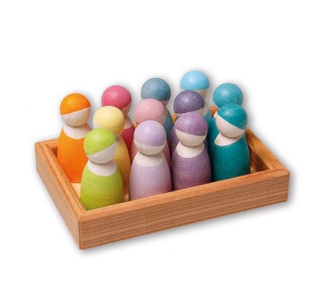 12 drewnianych pastelowych przyjaciół 1+ - Grimm's Grimms - Zabawka drewniana - Montessori