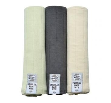 Pieluszki 3-pack XL - Swaddler - Leaf/Carbon/Ivory 70x70 cm - Lodger