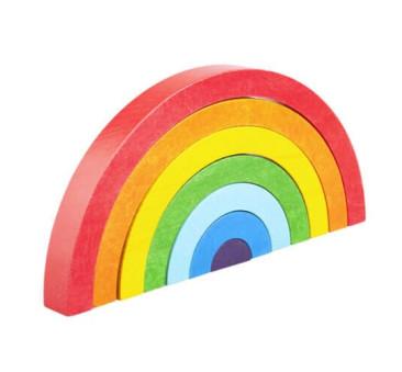 Tęcza - drewniana piramidka do układania - układanka Montessori - Lupo Toys