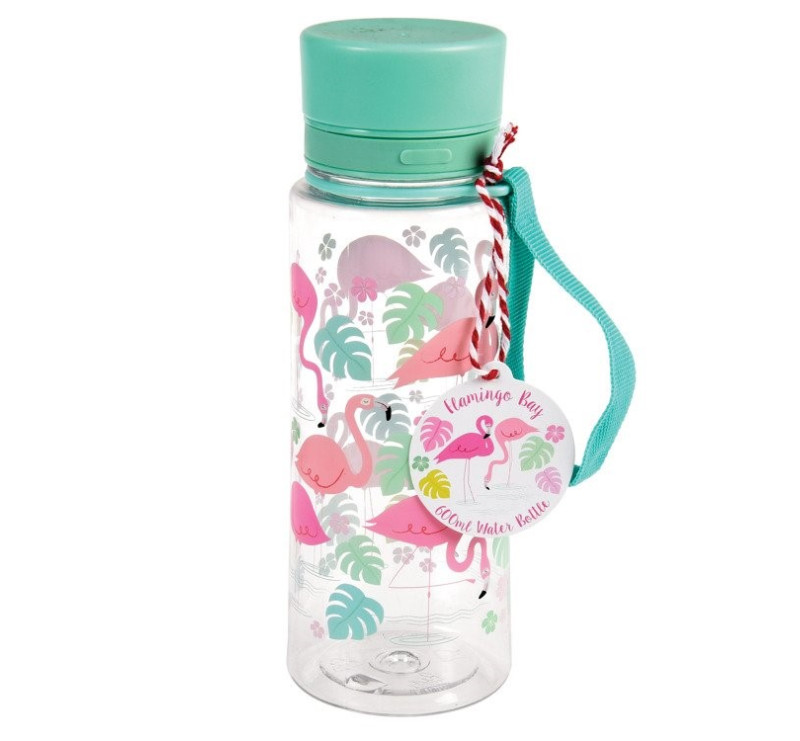 Flamingo Bay - Butelka na Wodę - 600 ml - Niebieska Nakrętka - Flamingi - Rex London Trade