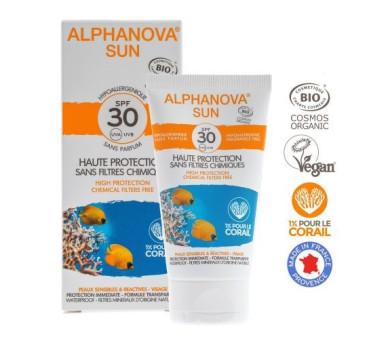 Hipoalergiczny Krem Przeciwsłoneczny - filtr SPF30 - wodoodporny - 50g - Alphanova Sun Bio