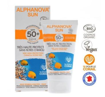 Hipoalergiczny Krem Przeciwsłoneczny - filtr SPF50 - wodoodporny - 50g - Alphanova Sun Bio