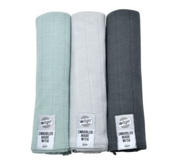 Otulacze Pieluszki 3-pack XL - Swaddler - Feather/Mist/Carbon 120x120 cm - Lodger