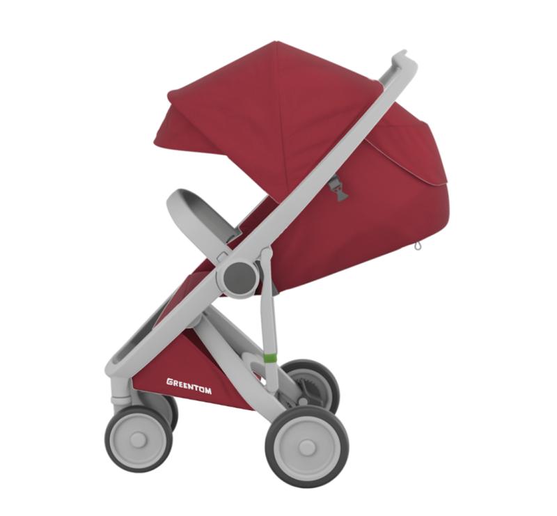 Wózek Greentom Upp Classic - grey - cherry / szaro - czerwony