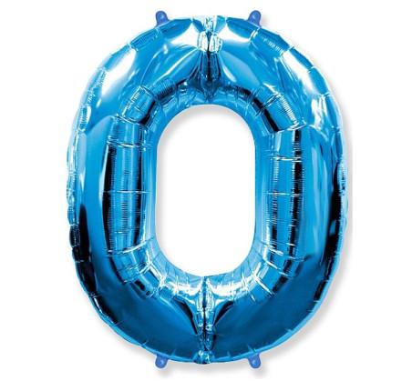 Cyfra 0 - Niebieska - Balon foliowy 85 cm - GoDan