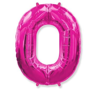 Cyfra 0 - Różowa - Balon foliowy 85 cm - GoDan