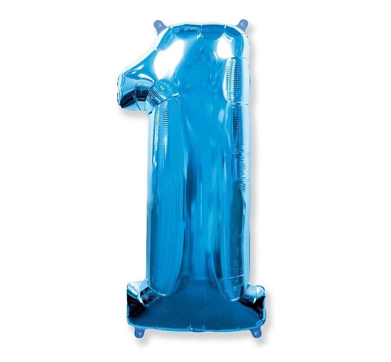 Cyfra 1 - Niebieska - Balon foliowy 85 cm - GoDan