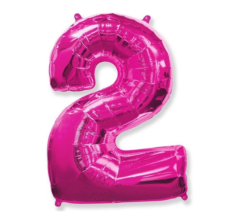Cyfra 2 - Różowa - Balon foliowy 85 cm - GoDan