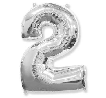 Cyfra 2 - Srebrna - Balon foliowy 85 cm - GoDan
