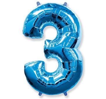 Cyfra 3 - Niebieska - Balon foliowy 85 cm - GoDan