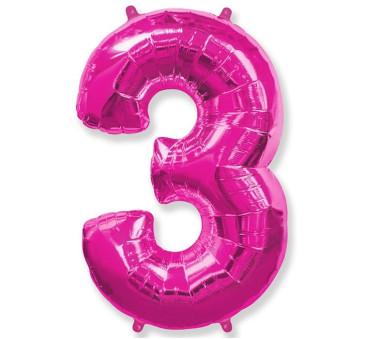 Cyfra 3 - Różowa - Balon foliowy 85 cm - GoDan