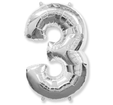 Cyfra 3 - Srebrna - Balon foliowy 85 cm - GoDan