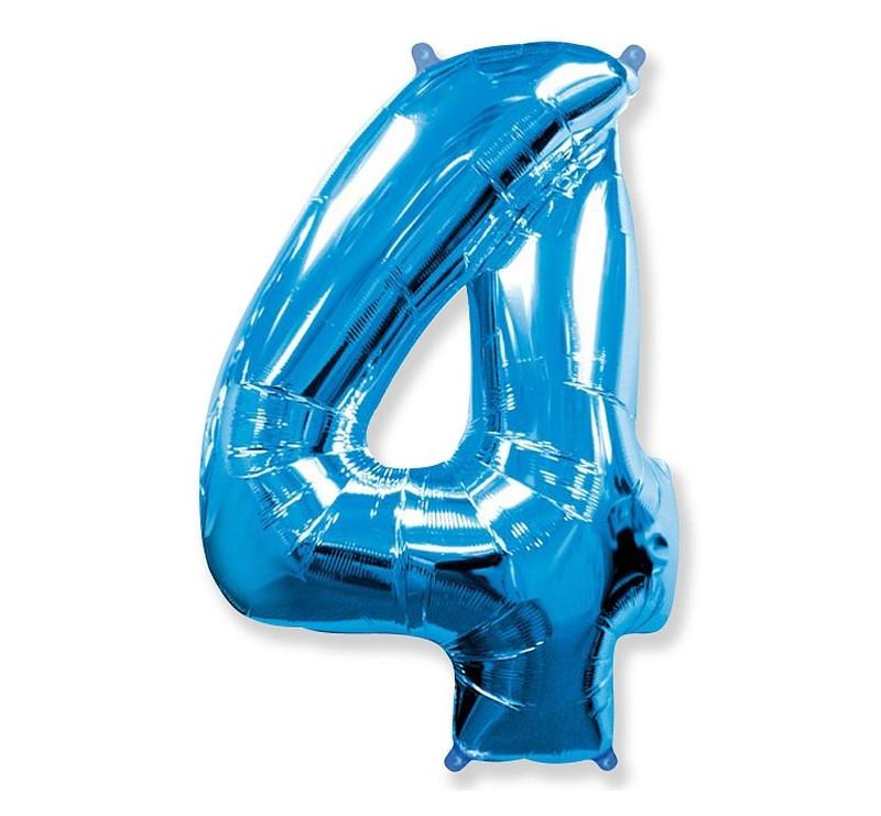 Cyfra 4 - Niebieska - Balon foliowy 85 cm - GoDan