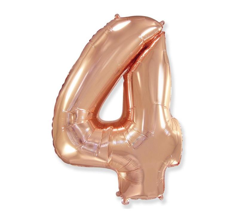 Cyfra 4 - Różowo/ Złota- Balon foliowy 85 cm - GoDan