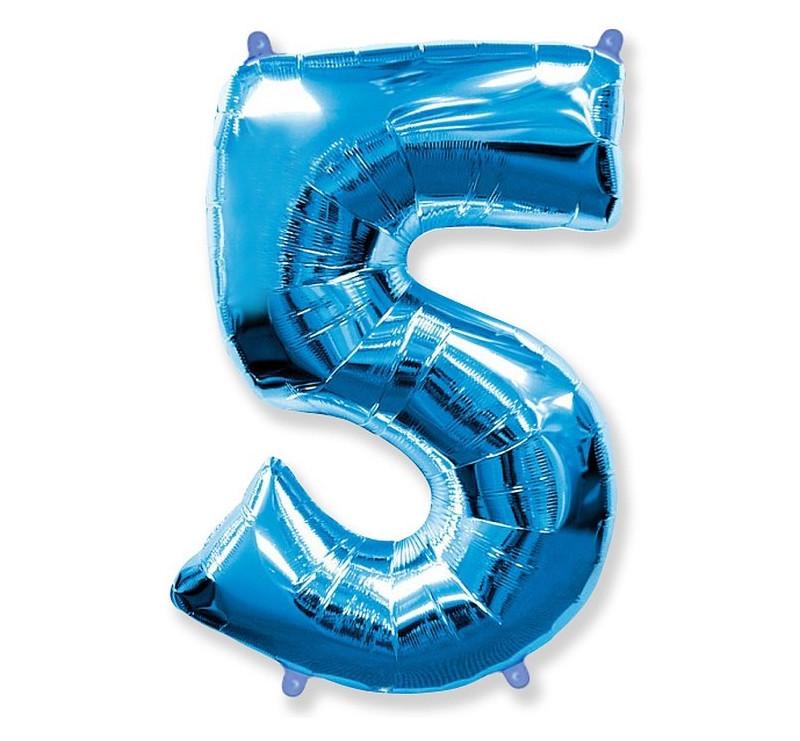 Cyfra 5 - Niebieska - Balon foliowy 85 cm - GoDan