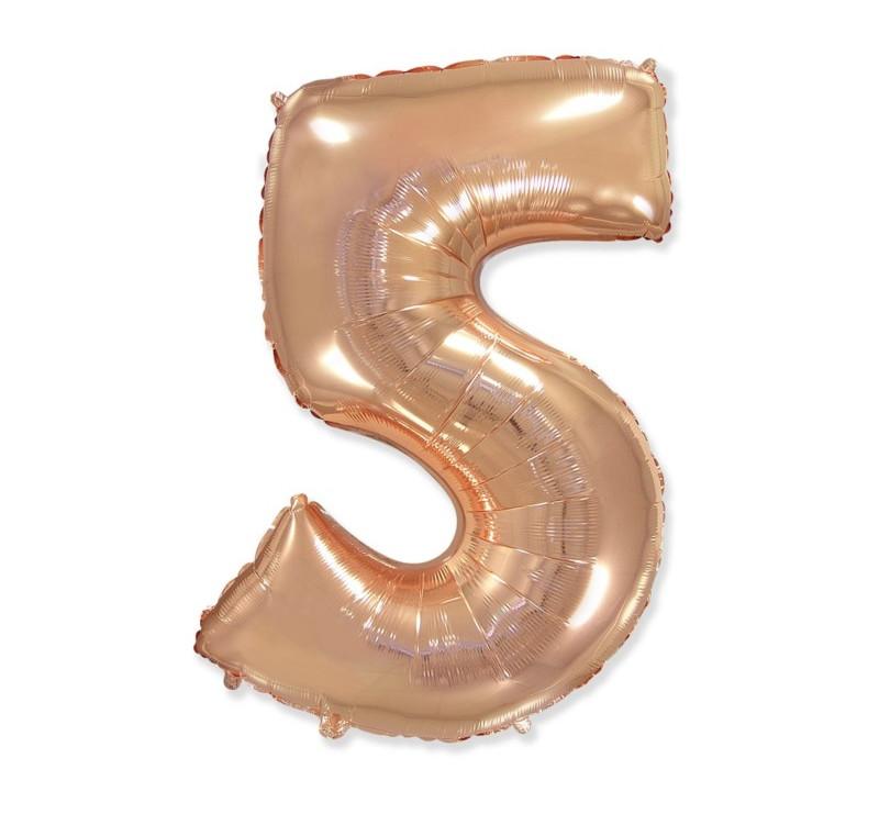 Cyfra 5 - Różowo/ Złota- Balon foliowy 85 cm - GoDan