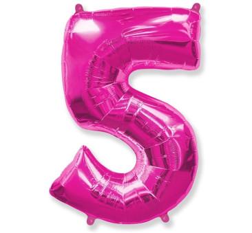 Cyfra 5 - Różowa - Balon foliowy 85 cm - GoDan