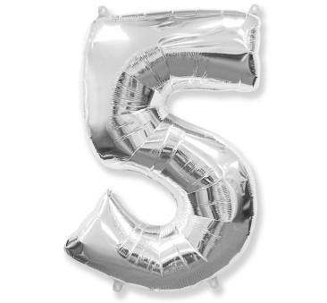 Cyfra 5 - Srebrna - Balon foliowy 85 cm - GoDan