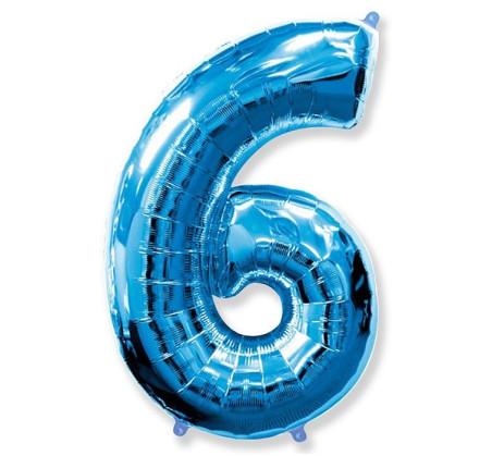 Cyfra 6 - Niebieska - Balon foliowy 85 cm - GoDan