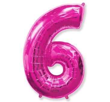 Cyfra 6 - Różowa - Balon foliowy 85 cm - GoDan