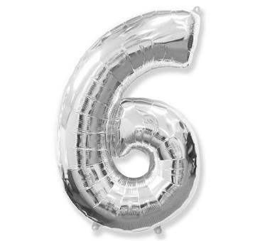 Cyfra 6 - Srebrna - Balon foliowy 85 cm - GoDan