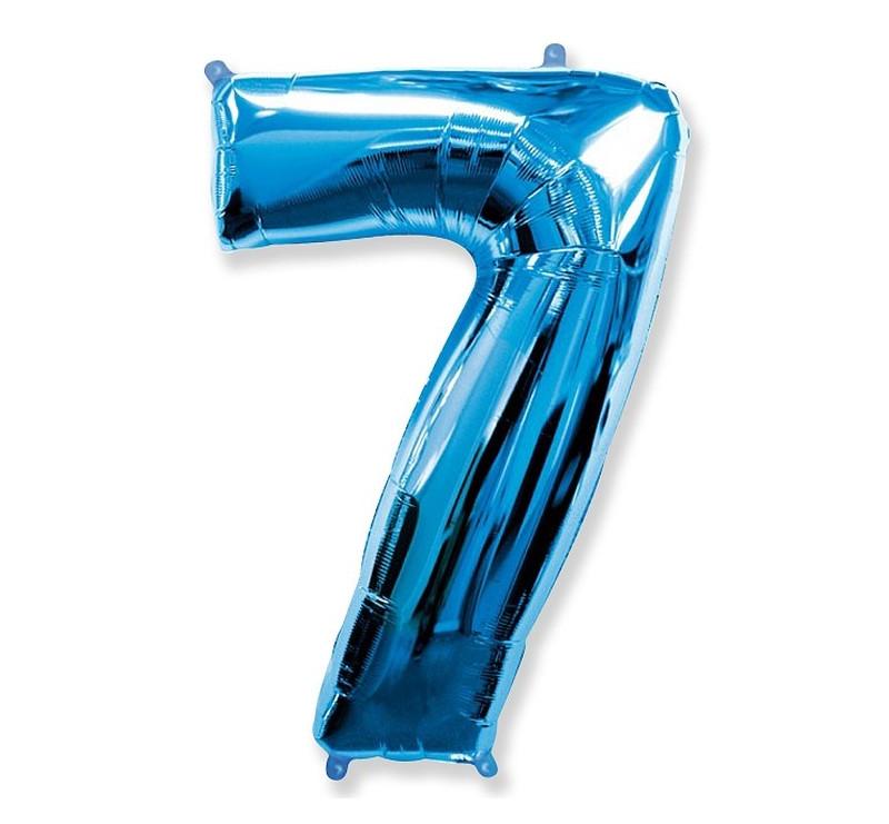 Cyfra 7 - Niebieska - Balon foliowy 85 cm - GoDan