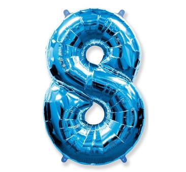 Cyfra 8 - Niebieska - Balon foliowy 85 cm - GoDan