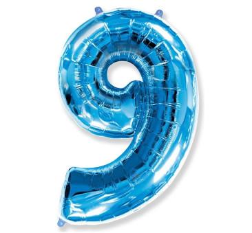 Cyfra 9 - Niebieska - Balon foliowy 85 cm - GoDan