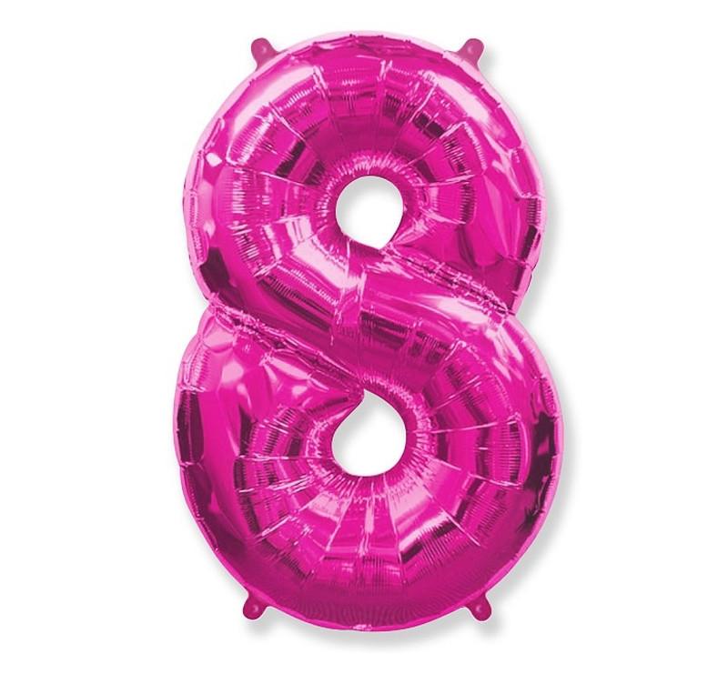 Cyfra 8 - Różowa - Balon foliowy 85 cm - GoDan