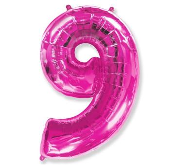 Cyfra 9 - Różowa - Balon foliowy 85 cm - GoDan