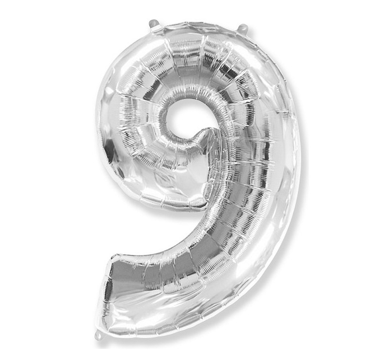 Cyfra 9 - Srebrna - Balon foliowy 85 cm - GoDan