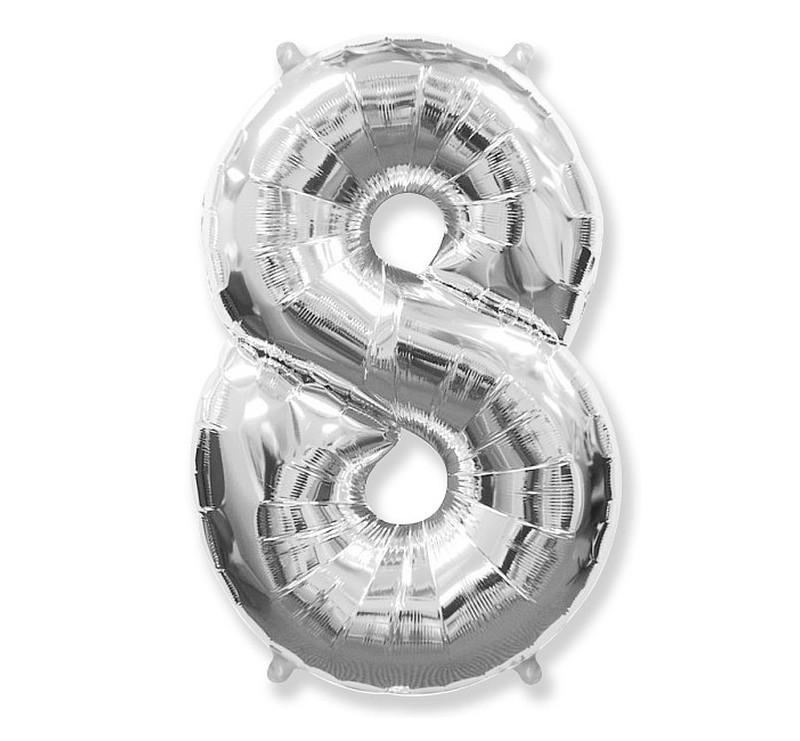 Cyfra 8 - Srebrna - Balon foliowy 85 cm - GoDan