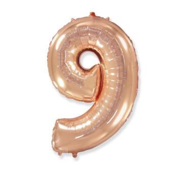 Cyfra 9 - Różowo/ Złota- Balon foliowy 85 cm - GoDan