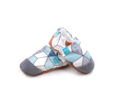 Blue Diamond ze skórką - rozmiar 9-12 msc - Papcie Titot - SKÓRZANA PODESZWA