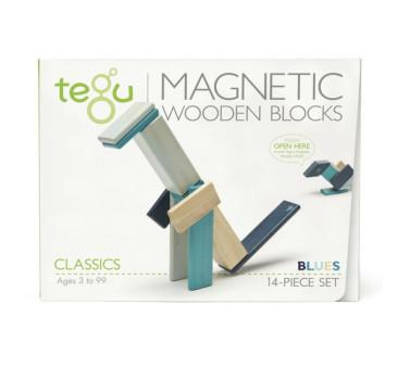 Classics - Blues -14 szt. Drewniane Klocki Magnetyczne - Tegu