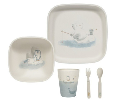Polar Bear - Bambusowy zestaw do jedzenia - talerz/miska/ kubek/ sztućce - Little Dutch