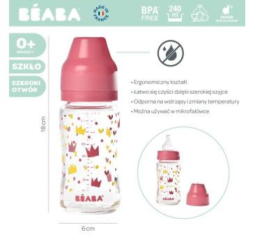Yellow Pink Crown - Butelka Szklana - Szerokootworowa - 240ml - Beaba