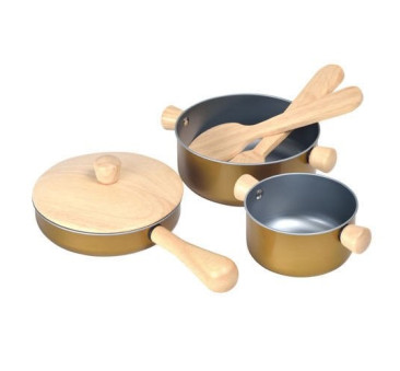 Garnki i akcesoria do zabawy w gotowanie - przybory kuchenne - Plan Toys - Montessori