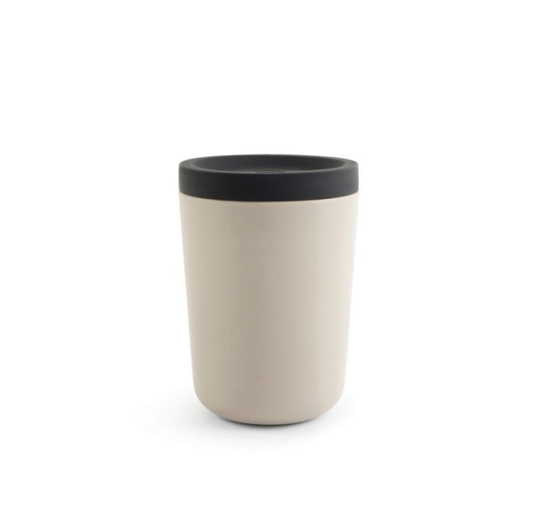 Stone/ Szary- Kubek Podróżny Z Silikonowym Wieczkiem - Z Włókna Bambusowego - BIOBU - EKOBO
