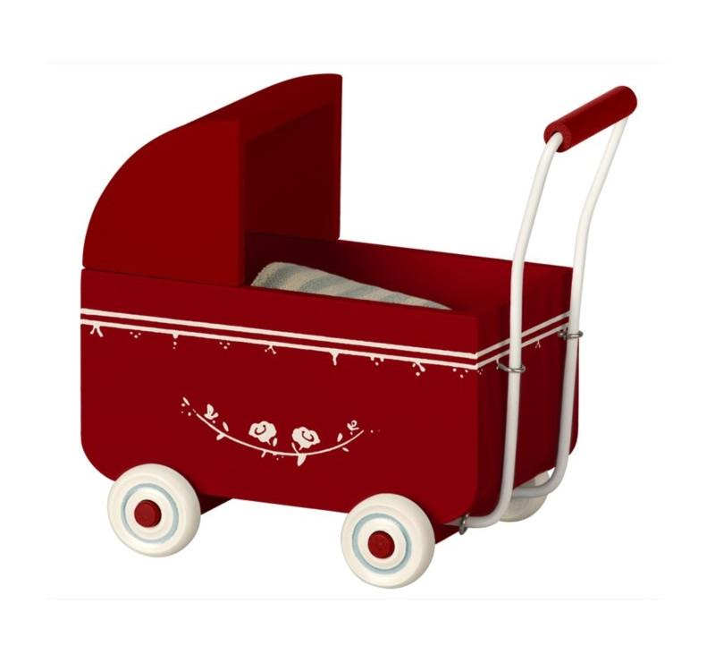 Wózek - Czerwony - Pram MY - Red - Akcesoria dla Lalek - Maileg