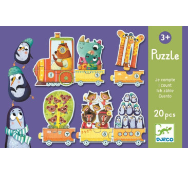 Pociąg Nauka Liczenia - Puzzle - Djeco
